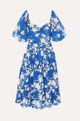 Johanna Ortiz Beautiful Chaos Tiered Floral-print Broderie Anglaise Cotton Dress - Blue