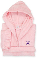 Linum Home Textiles Kids Monogrammed Hooded Bathrobe With Ruffle, Small, K