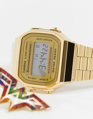 Casio wonderwoman collab digital watch in gold