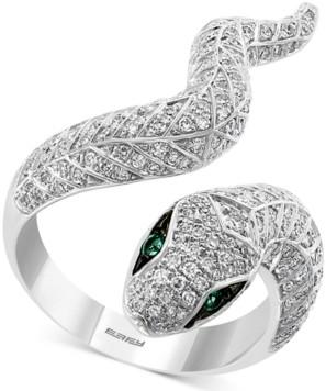 Effy Diamond (3/4 ct. t.w.) & Emerald (1/20 ct. t.w.) Snake Ring in 14k White Gold