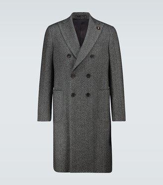 Lardini Double-breasted herringbone coat