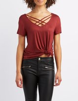 Charlotte Russe Lattice-Front Boyfriend Tee