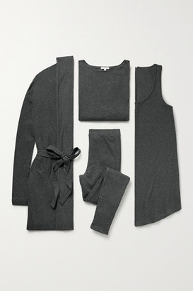Skin Ribbed Stretch Pima Cotton And Modal-blend Travel Set - Gray