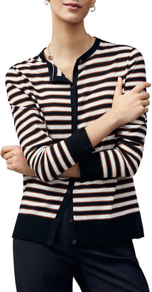 Lafayette 148 New York Striped Button-Front Cotton Cardigan