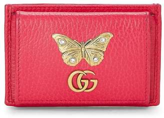 Gucci Pink Leather Butterfly Cardholder