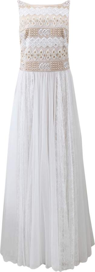 Marchesa Beaded Gown With Lace Skirt