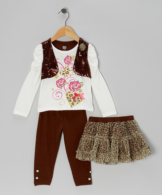 Young Hearts Girls' Leggings Brown - Brown Sparkle Layered Top Set - Infant & Toddler