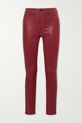 L'Agence Marguerite Coated High-rise Skinny Jeans - Burgundy
