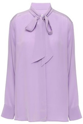Sandro Pussy-bow Silk Crepe De Chine Blouse