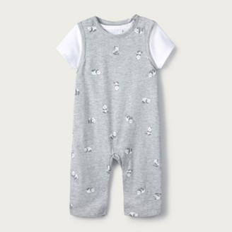 The White Company Panda Dungarees & T-Shirt Set, Grey, 12-18mths