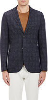 Barneys New York MEN'S GLEN PLAID DECONSTRUCTED TWO-BUTTON SPORTCOAT-DARK GREY SIZE 48 R