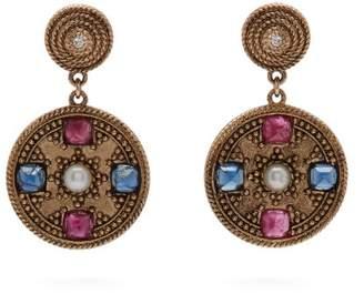 Jade Jagger Pearl & Ruby 18kt Gold Star Medallion Earrings - Womens - Gold