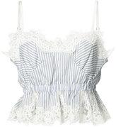 Sacai striped lace crop top