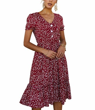 Missylife Womens Bohemian Floral V Neck Button Down Short Sleeve Ruffle Swing Summer Pleated A Line Dress (Navy Small)
