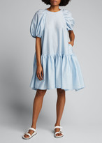 Cecilie Bahnsen Crepe Puff-Sleeve Drop-Waist Dress