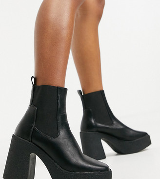 Truffle Collection wide fit chunky chelsea heeled ankle boots in black