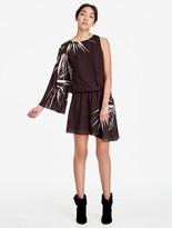 Halston Asymmetric Printed Flowy Dress