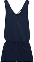 Hanro Livia Lace-trimmed Modal-jersey Playsuit - Navy