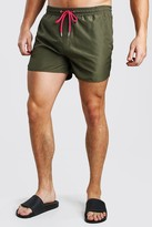 boohoo Mens Green Plain Runner Style Swim Shorts With Contrast Cords, Green