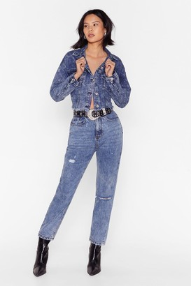 Nasty Gal Womens No Need to Distress Acid Wash Mom Jeans - Blue - 4