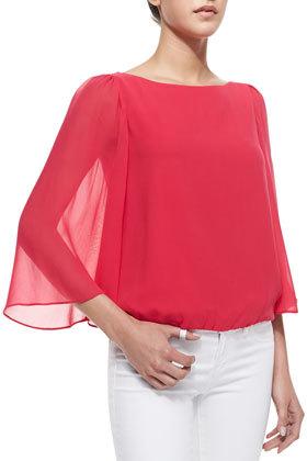 Alice + Olivia Katelyn Sheer-Bell-Sleeve Top, Pink