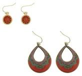 Qingdao Rihong Handicraft Article Co. Woman's Round Drop Earrings with Beads, Textured Teardrop Earrings with Epoxy and Ballshot Chai