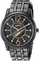 Nine West Women's NW/1737GMGN Swarovski Crystal Accented Gunmetal Bracelet Watch