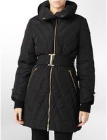 Womens Exposed Gold Zip Belted Puffer Coat