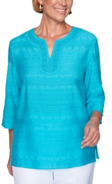 Alfred Dunner Petite Easy Street Lace-Trim Tunic