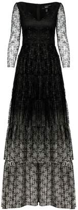 Nissa Maxi Ruffle Dress With Long Lace Sleeves