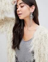 Asos DESIGN statement rope style chain tassel earrings