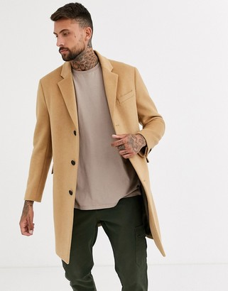 Topman overcoat in camel