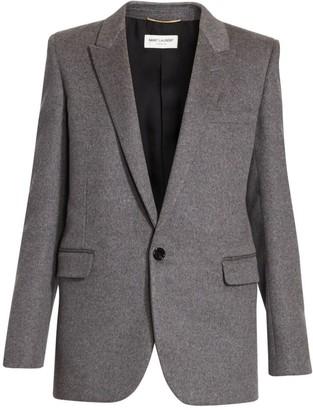 Saint Laurent Wool & Cashmere Flannel Single Button Jacket