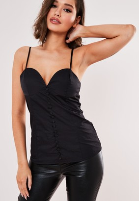 Missguided Black Covered Button Front Cami Top