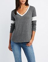 Charlotte Russe V-Neck Ringer Sweatshirt