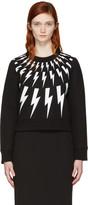 Neil Barrett Black Fairisle Thunderbolt Short Sweatshirt