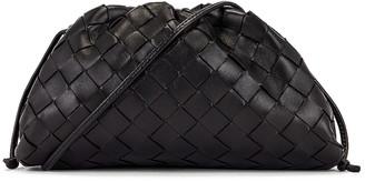 Bottega Veneta Mini Leather Woven Pouch Clutch Crossbody Bag in Black & Silver | FWRD