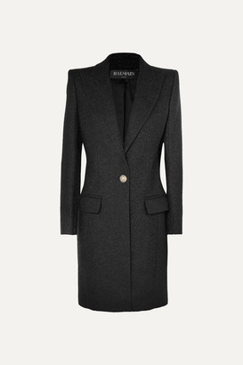 Balmain Button-embellished Metallic Wool-blend Coat - Black