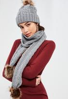 Missguided Faux Fur Pom Pom Cable Knit Scarf