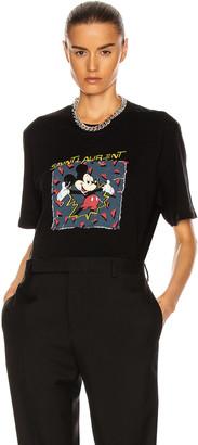 Saint Laurent Short Sleeve T Shirt in Noir & Multicolore | FWRD