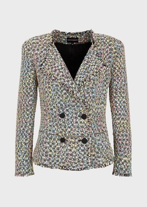 Emporio Armani Double-Breasted Jacket In Multi-Coloured Tweed
