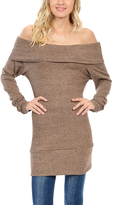 Magic Fit Taupe Off-Shoulder Tunic