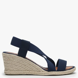 Daniel Coopster Navy Elasticated Strap Wedge Sandals