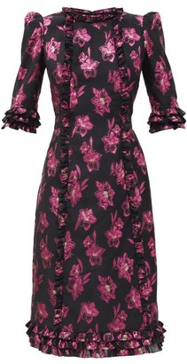 The Vampire's Wife The Cate Floral-jacquard Ruffled Midi Dress - Black Pink