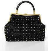 Cassandra Black Calf Hair Leather Rhinestone Studded Satchel Handbag