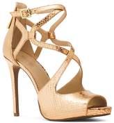 MICHAEL Michael Kors Catia Crisscross Snake Embossed High Heel Platform Sandals