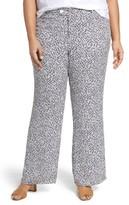 Foxcroft Plus Size Women's Dots & Dashes Flare Leg Pants