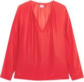Frame Le Raglan Silk-charmeuse Blouse - Red