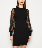 New Look Mesh Spot Puff Sleeve Bodycon Dress