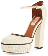 Valentino Woven Platform Ankle-Strap Pump, Light Ivory